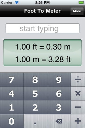 Screenshot Foot To Meter, the fastest converter on iPhone