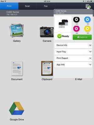Screenshot Samsung Mobile Print on iPad