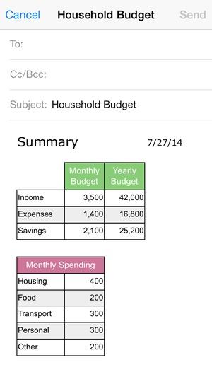 Screenshot Household Budget on iPhone