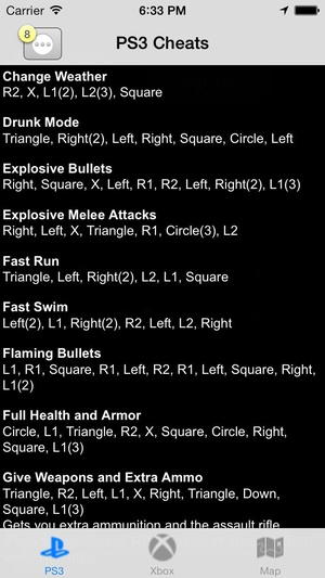 Screenshot Cheats on iPhone
