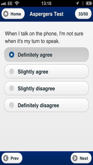 Screenshot The Aspergers Test on iPhone
