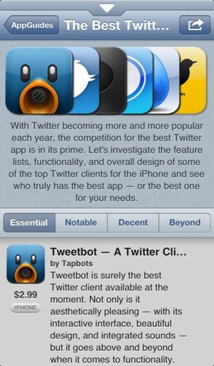 Screenshot AppAdvice on iPhone