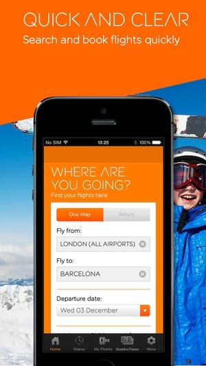 Screenshot easyJet mobile on iPhone