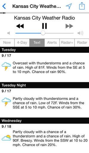 Screenshot NOAA Weather Radio on iPhone