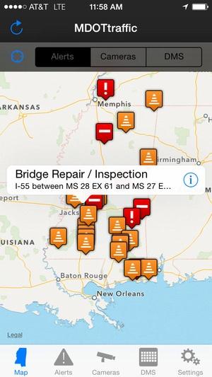 Screenshot MDOT Traffic on iPhone