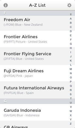 Screenshot Airline Finder on iPhone