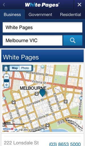 Screenshot White Pages Australia on iPhone