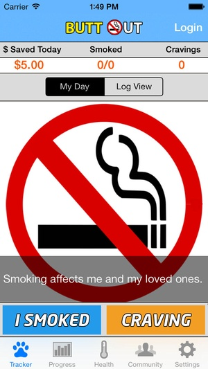 Screenshot Stop Smoking Cigarettes Now Quit Smokes Forever Tracker, Counter, & No Smoker Cigarette Quitter Coach App on iPhone