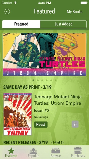 Screenshot TMNT Comics on iPhone