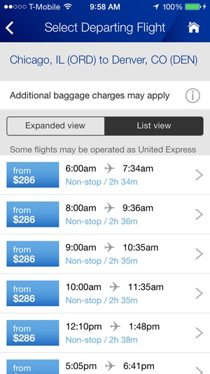 Screenshot United Airlines on iPhone