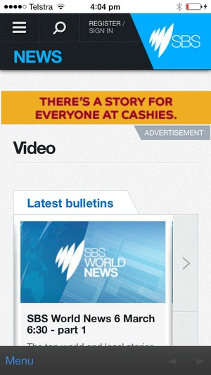 Screenshot SBS World News on iPhone