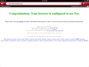 Screenshot Covert Browser on iPad