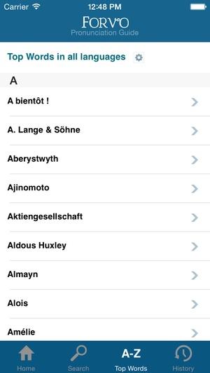Screenshot Forvo Pronunciation on iPhone