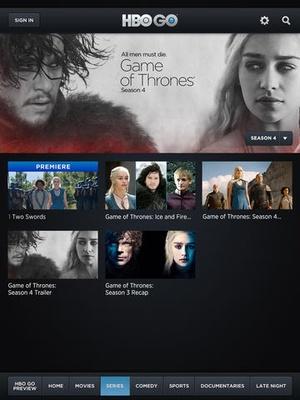 Screenshot HBO GO on iPad