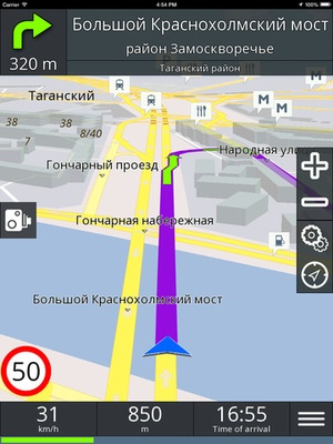 Screenshot GPS navigation BE on iPad