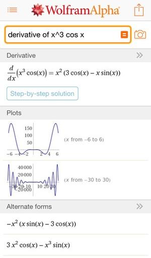 Screenshot WolframAlpha on iPhone