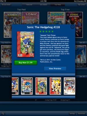 Screenshot Sonic Comics on iPad