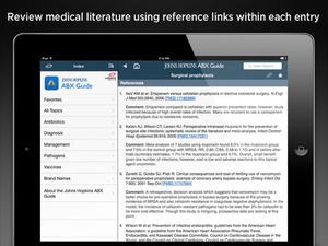 Screenshot Johns Hopkins ABX Guide 2015 on iPad