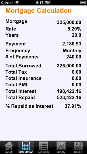 Screenshot Mortgage Calculator Plus on iPhone
