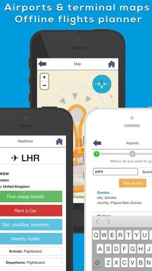 Screenshot Sydney SYD Airport. Flights, car rental, shuttle bus, taxi. Arrivals & Departures. on iPhone