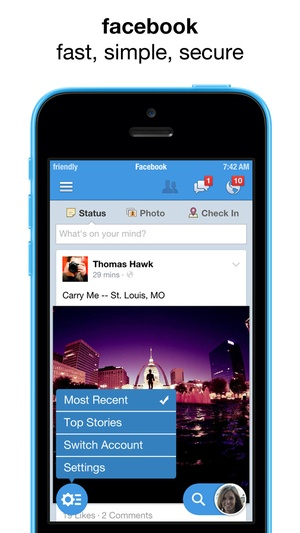Screenshot Friendly for facebook + messenger on iPhone