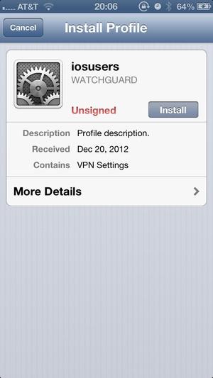 Screenshot WatchGuard Mobile VPN on iPhone