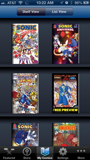 Screenshot Sonic Comics on iPhone