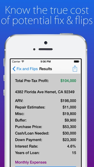 Screenshot House Flip Analysis on iPhone