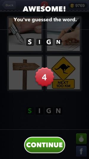 Screenshot 4 Pics 1 Word on iPhone