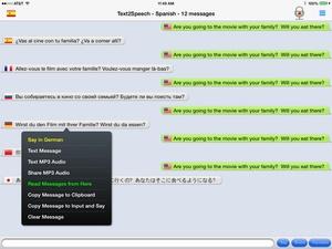 Screenshot mText2Speech on iPad