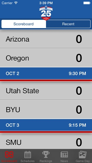 Screenshot Top 25 College Football Schedules & Scores on iPhone