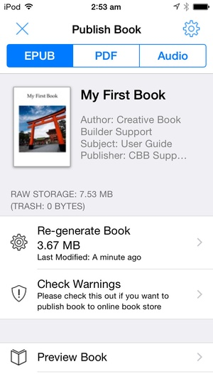 Screenshot Creative Book Builder on iPhone