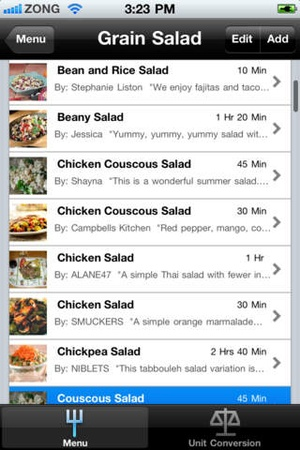 Screenshot Appetizing Salads on iPhone