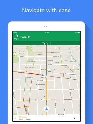 Screenshot Google Maps on iPad