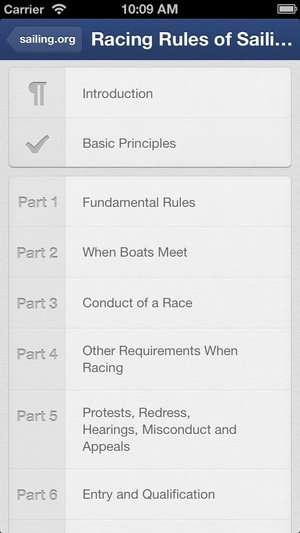 Screenshot ISAF Racing Rules of Sailing 2013 on iPhone