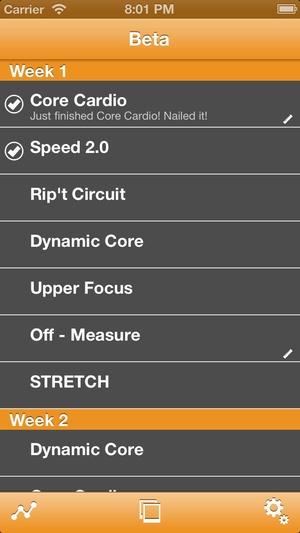 Screenshot Tracker for 25 Minute Workout on iPhone
