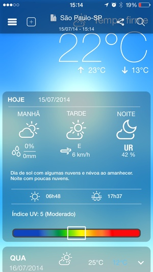 Screenshot Climatempo on iPhone