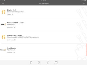 Screenshot Job Search on iPad