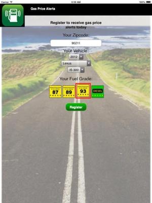Screenshot Gas Price Alerts on iPad