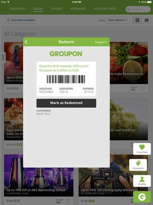 Screenshot Groupon on iPad