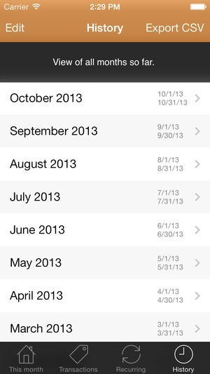 Screenshot MoneyBook on iPhone