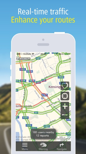 Screenshot MICHELIN Navigation Traffic, GPS, Road Warnings on iPhone