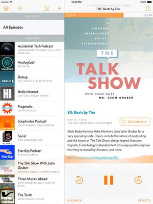 Screenshot Overcast: Podcast Player on iPad