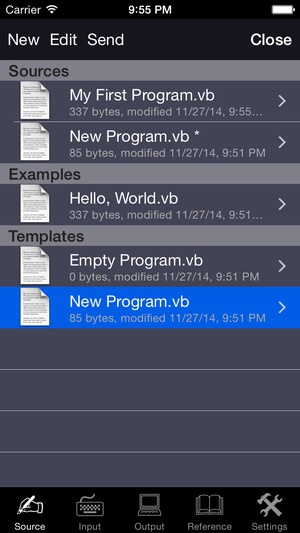 Screenshot Visual Basic Programming Language on iPhone