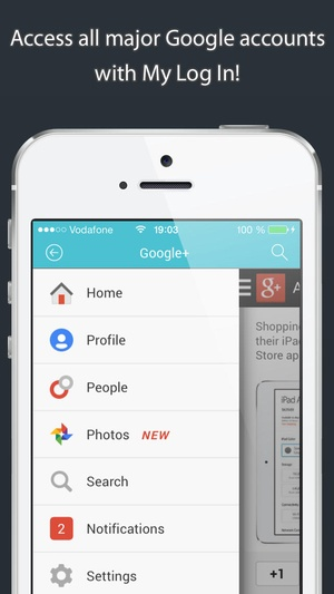 Screenshot My Log In! Social Network Manager for facebook, twitter, google accounts, mail, gmail, yahoo, pinterest, instagram, vimeo, skyp on iPhone