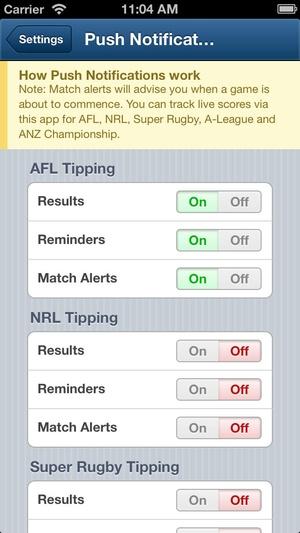 Screenshot footytips on iPhone