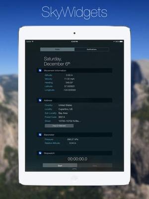 Screenshot SkyWidgets on iPad