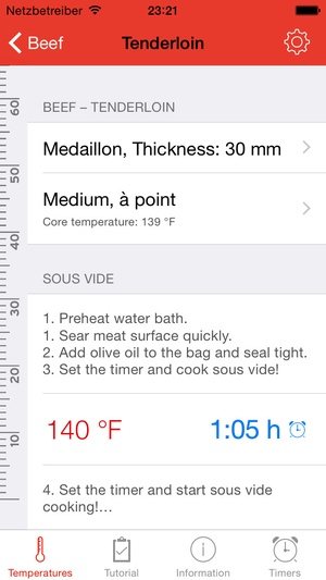 Screenshot Sous Vide °Celsius on iPhone