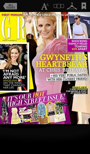 Screenshot Grazia UK Magazine on iPhone
