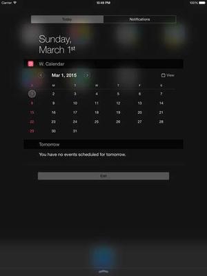 Screenshot Widget Calendar on iPad